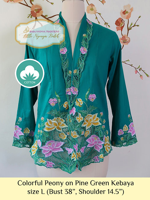 C: Colorful Peony in Pine Green Kebaya. size L