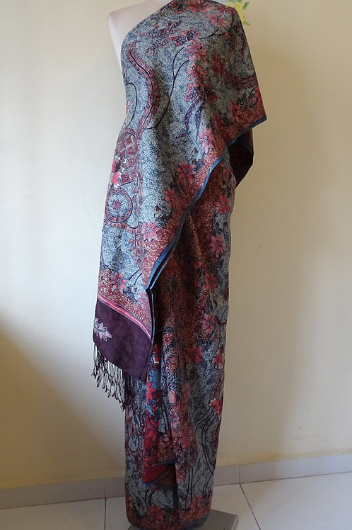 Bird Red-Blue Silk on ATBM Baron with shawl