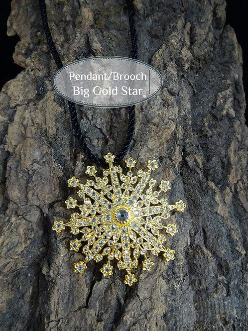 Brooch/Pendant Vintage Style Big Star: Gold