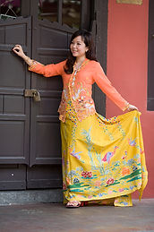 peranakan culture orange kebaya hand drawn batik crane bird Singapore nyonya nonya