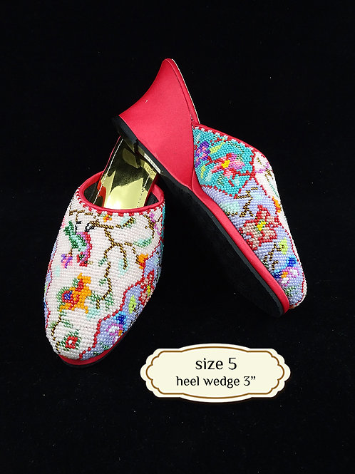 Covered Bird on Pink Beaded Shoe. size 5 or 35