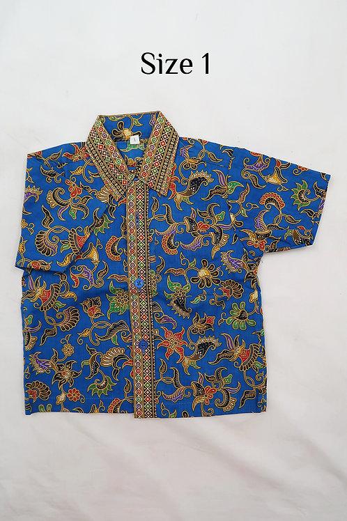 Boy Batik Shirt Blue.  size 1 for 1yo