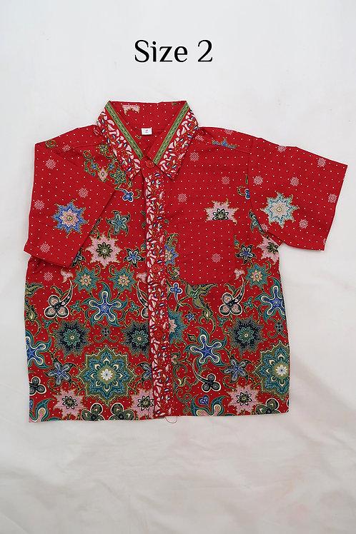 Boy Batik Shirt Red.  size 2 for 2yo