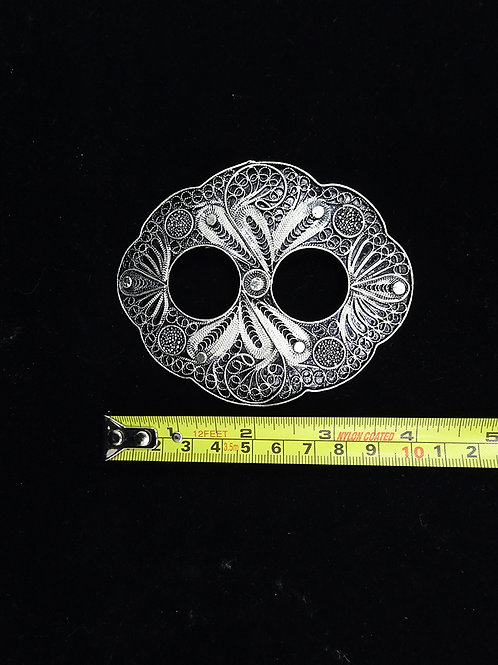 Copper Filigree Sarong Buckle in Silver Finish (D)