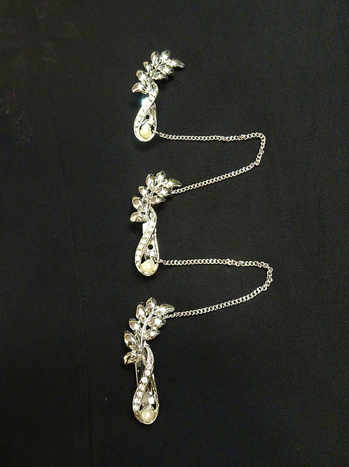 Kerosang Stone Silver Leaf with Pearl