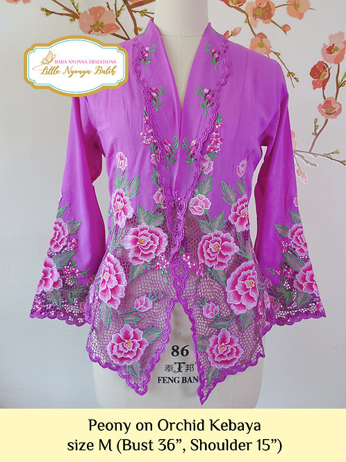 Size M Lux: Peony on Orchid Kebaya