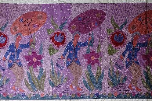 Hip wrap nyonya in kebaya purple
