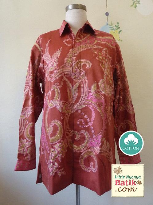 Hand-drawn Shirt Bird Brick Red on Cotton (L)