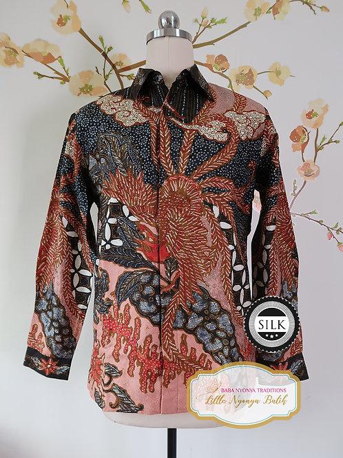 Hand-drawn Shirt Black Phoenix on Textured silk (S)
