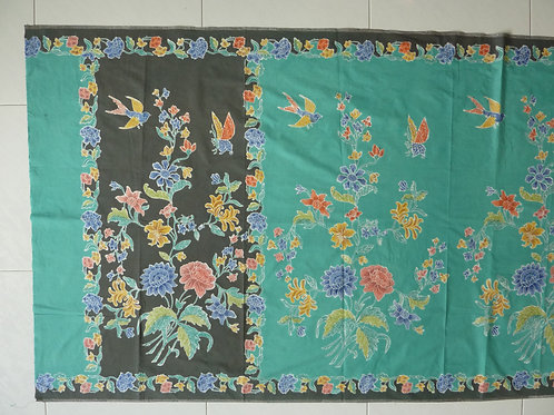 Sarong 2tone Bird Butterfly on Dark Green-Turquoise Cotton