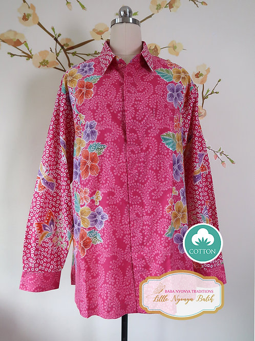 SBML: Butterfly Fuscia on cotton. No Lining. size XL