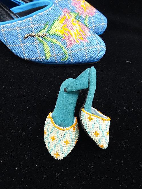 Miniature Peranakan Beaded Shoe Turquoise
