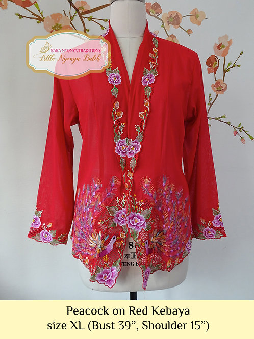 C: Peacock on Red (B) Kebaya. size XL