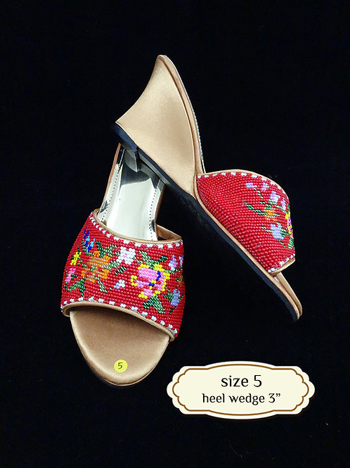 Floral Red Beaded Shoe. size 5 or 36