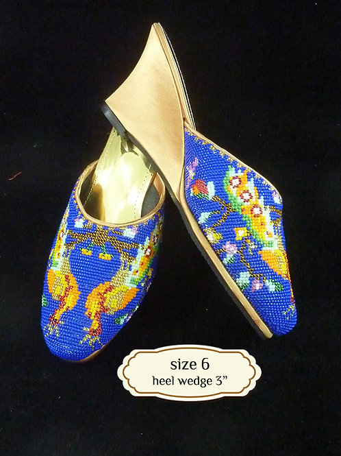 Covered Peacock on Blue Beaded Shoe. size 6 or Eur 36