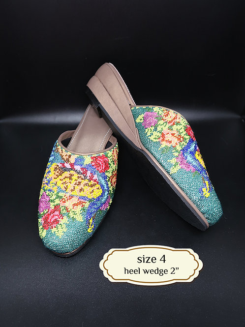 Cover Peacock Micro Beaded Shoe. size 4 or 34