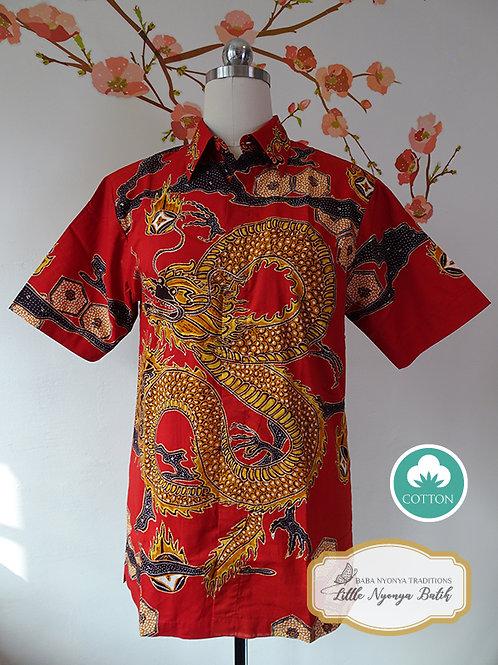 Hand-drawn DarkOrange Dragon Cotton (S)