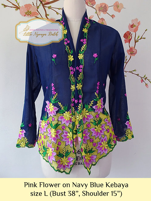 B: Pink Flower in Navy Blue Kebaya. size L