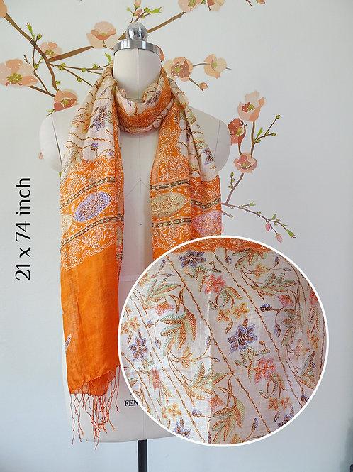 Silk Scarf Floral Orange (Medium)