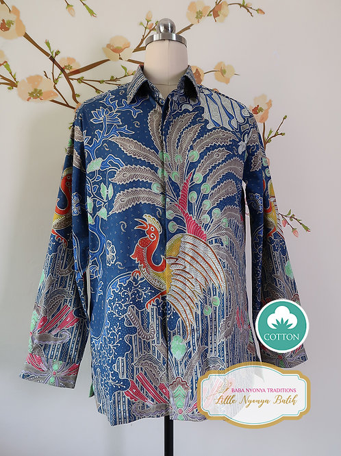 Hand-drawn Blue Peacock on Cotton. No lining (M)