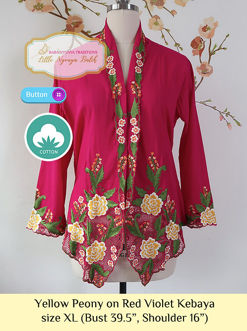 C: Yellow Peony on Red Violet Kebaya. size XL