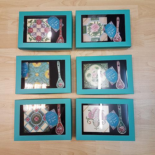 Peranakan Tile Coaster + Flower Spoon in Box