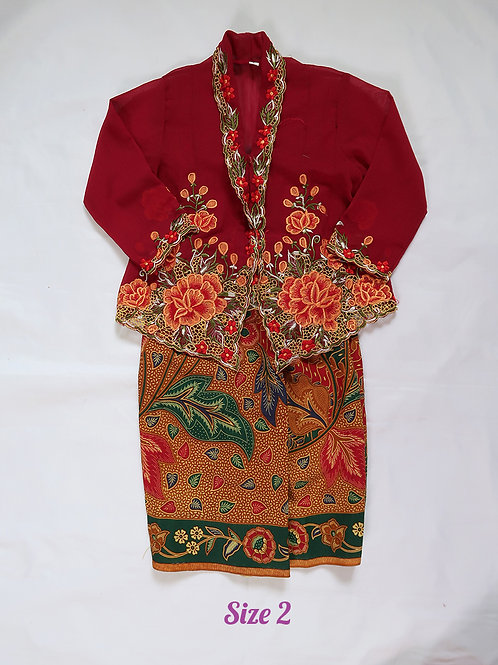size 2 (2 yo). Orange Flower on Jam kebaya