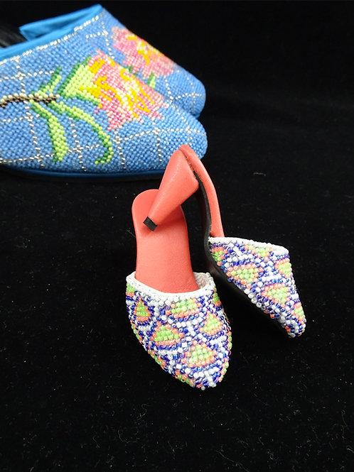 Miniature Peranakan Beaded Shoe Geometric