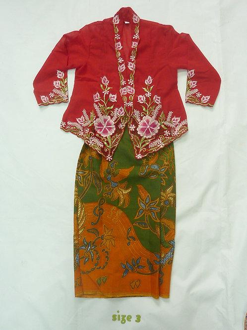 size 3 (3 yo). Pink Flower on Red Kebaya
