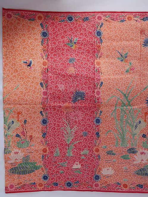Sarong Crane Red Orange 2 Sided