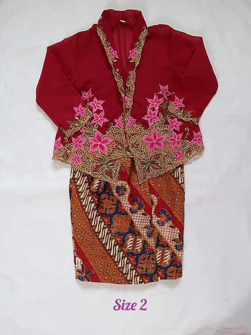 size 2 (2 yo). Pink Flower on Jam kebaya