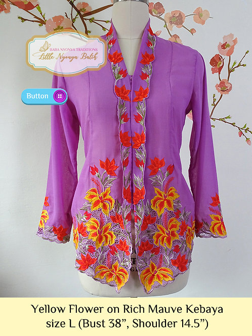 B: Yellow Flower in Rich Mauve Kebaya. size L