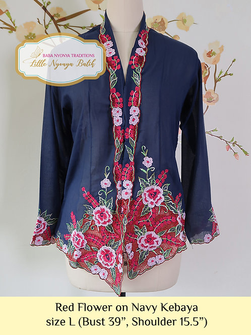 B: Red Flower in Navy Blue Kebaya. size L