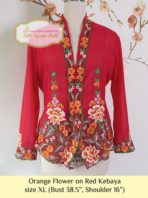 B: Orange Flower in Red Kebaya. size XL