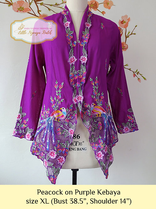 H: Peacock in Purple Kebaya. size XL