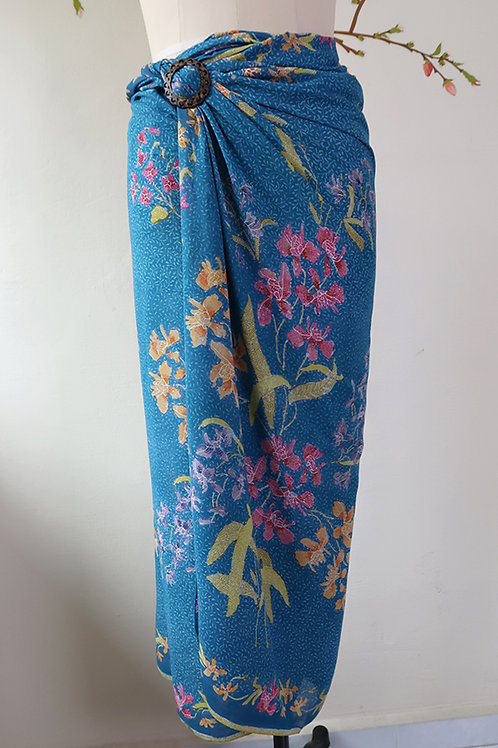 Rayon Sarong Orchid Cerulean Blue
