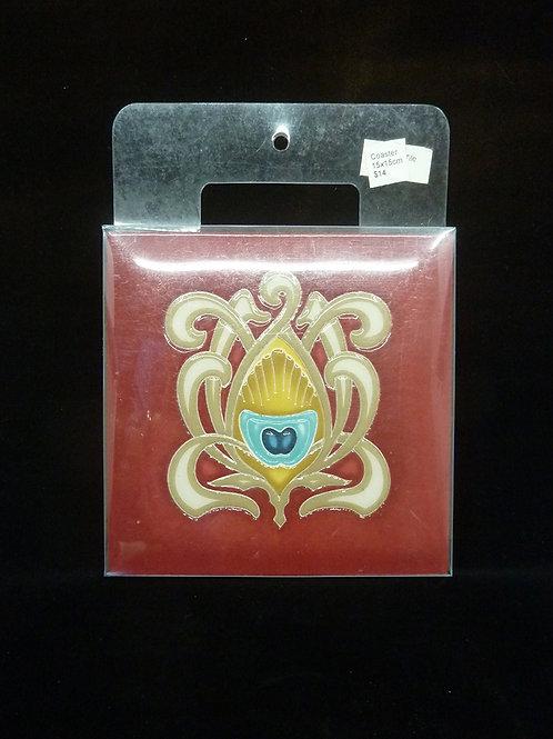 Ceramic Coaster Tile Red 15x15cm