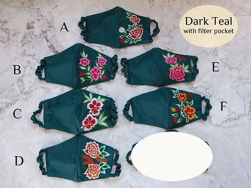 Cotton Embroidery Mask with Filter Slot Dark Teal