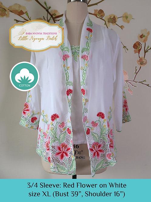 Size XL 3/4 Sleeve Kebaya with Camisole Red Flower White