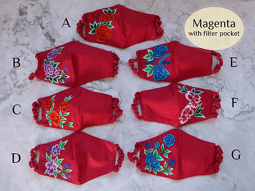 Cotton Embroidery Mask with Filter Slot Magenta