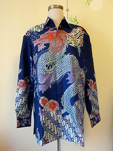blue dragon batik silk men shirt baba singapore