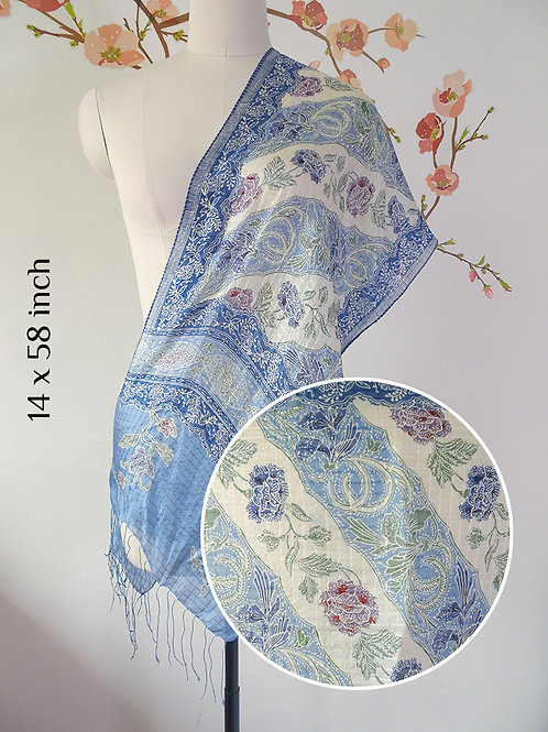 Silk Scarf Rose Blue (Small)