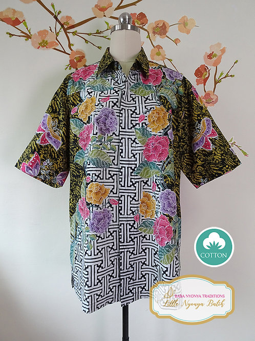 SBMS: Banji Peony Black on Cotton (L) No Lining