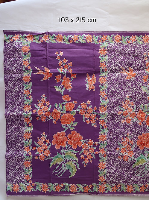 Sarong Bird & Butterfly Peony on Violet Cotton