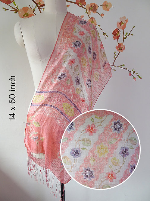 Silk Scarf Floral Orange White (Small)