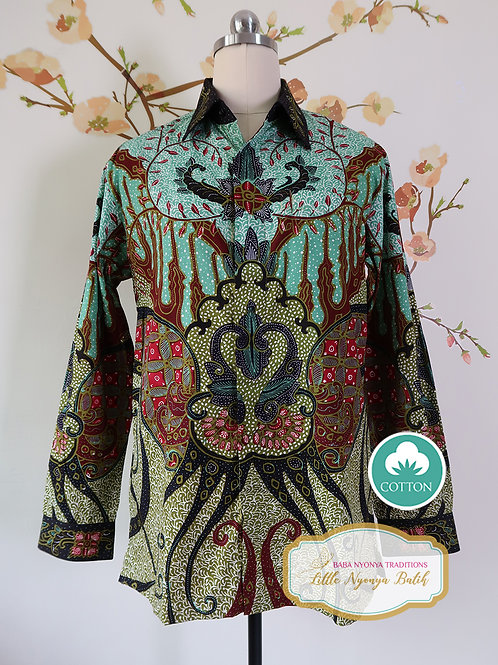 Hand-drawn Shirt Abstract Turquoise on Cotton (M)