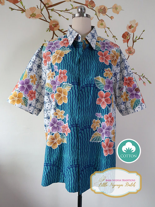 SBMS: Floral Turquoise Cotton (XL) no lining