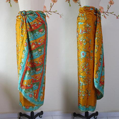 Silk sarong mustard bird