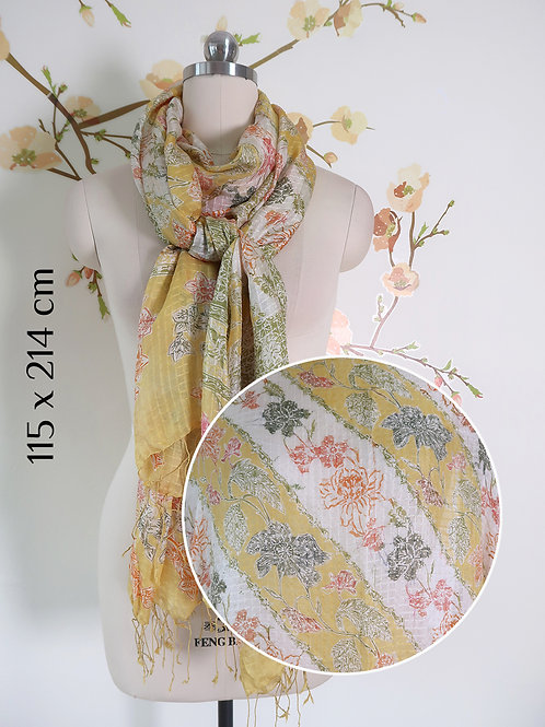 Scarf Yellow Flower on Smooth Silk (L)