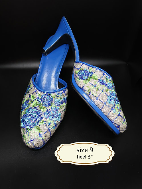 Cover Blue Roses Micro Beaded Shoe. size 9 or 39